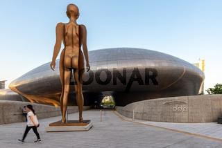 Entrance of the Dongdaemun design plaza and a sculpture