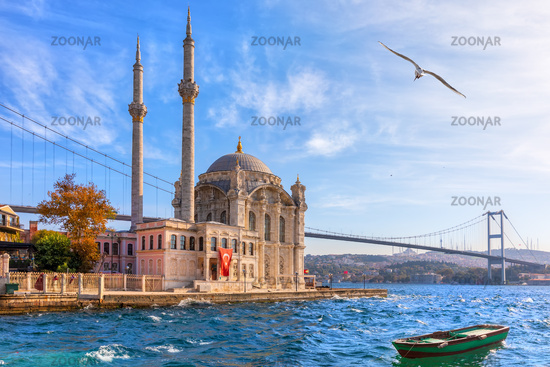 Beautiful Ortakoy Mosque in Istanbul, close view