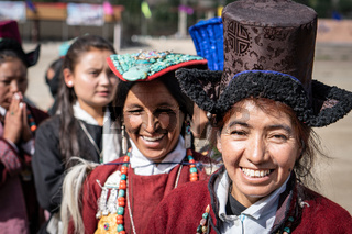Smiling Indian women on festival in Ladakh