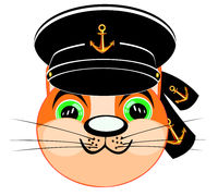 Vector illustration animal cat in headdress of the sailor