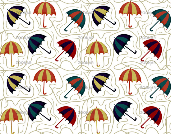 Umbrellas seamless pattern. Autumn endless background, repeating texture. Vector illustration