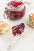 Tasty raspberry jam jelly.