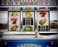 retro toy slot machine close up