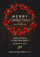 Merry Christmas and Happy New Year poster. Wreath with red berries on dark background. Party invitation template, vector illustration.