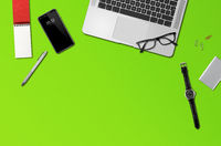 Office desk mockup top view isolated on green