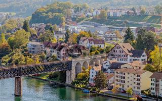 Eisenbahnbrücke über den Hochrhein von Schaffhausen nach Feuerthalen,  Schweiz