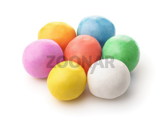 Colorful chewing gum balls