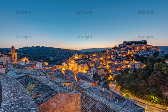 The old town of Ragusa Ibla in Sicily just before sunrise
