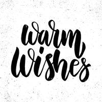 Warm Wishes text. lettering phrase for Christmas holidays greeting card, invitation, banner, postcard, web, poster template.