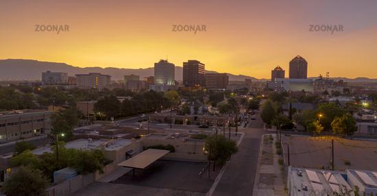 Orange Sunrise Aerial Perspective Downtown City Skyline Albuquerque New Mexico