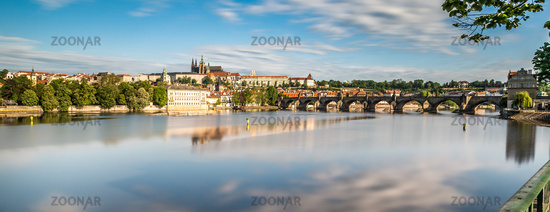 Panorama of Prague, reflection clouds on river Vltava