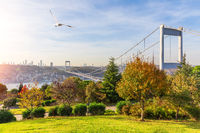 Fatih Sultan Bridge over the Bosphorus in Istanbul, view from the Otagtepe park