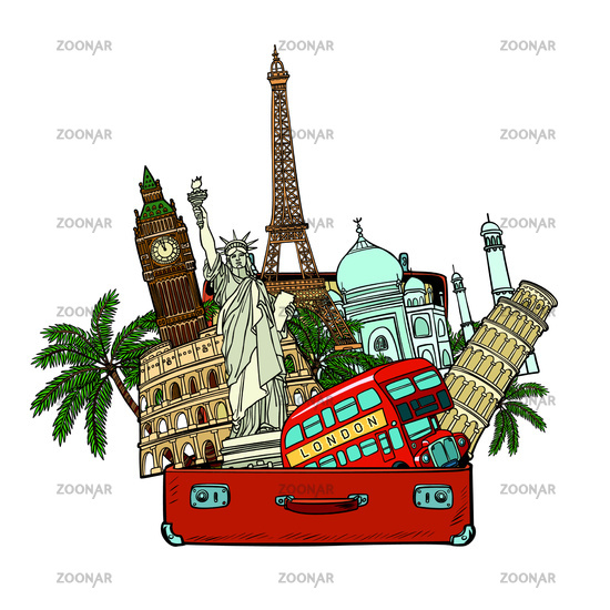 Suitcase with world landmarks.Tourism and travel concept. Isolat