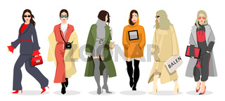 Set of women dressed in stylish trendy clothes