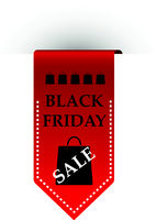 Sale sign. Red ribbon with inscription Black Friday isolated on white background. Vector illustration