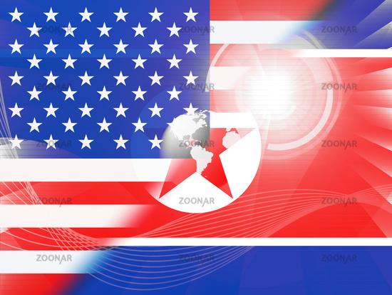 North Korean And America Sanctions Talks 3d Illustration