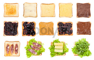 various open sandwiches on toasted bread isolated
