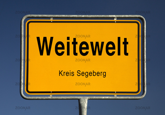 Village entrance sign of Weitewelt, district of Seedorf, Schleswig-Holstein, Germany, Europe