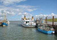 Harbor of Strucklahnungshoern on Nordstrand Peninsula,North sea,North Frisia,Germany