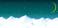 Snowy mountains against the background of the night starry sky