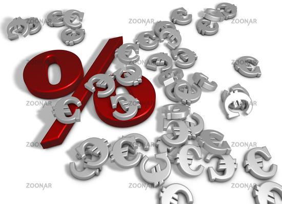 percentage symbol and euro sign on white background - 3d rendering