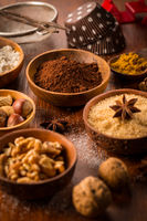 Christmas baking ingredient and spices for cookies