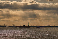 Silhouette of the Statue of Liberty in New York City