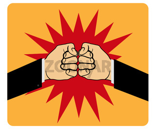 Two fists hitting each other, simple design