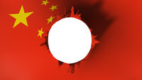 Hole cut in the flag of China