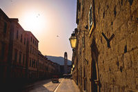 Dubrovnik. Famous Stradun street in Dubrovnik golden sunset view