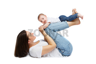 beautiful young mother with toddler baby boy