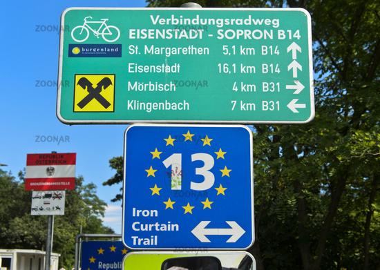 Directional sign on the bike tour Irin Curtain Trail, border between Hungary and Austria