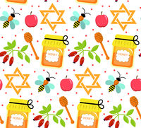 Seamless pattern, texture for the Jewish new year. Rosh Hashanah, Shana Tova background wallpaper. Vector illustration