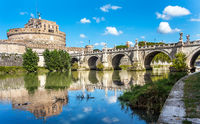 View of the Castel Sant'Angelo and the Angel Bridge on the Tiber in Rome Lazio Italy