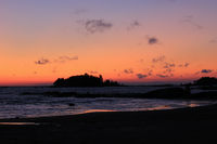 Bright orange morning sky over Lake Vanern.
