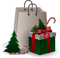 Festive composition with Christmas tree, gift bags and boxes with branches and candyes on a white background.