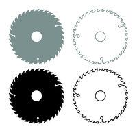 Circular disk icon outline set grey black color