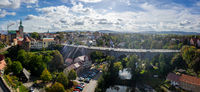 Panoramic view of the town from the height of the old Waterworks tower. Lens flare.