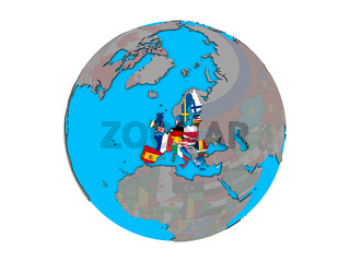 European Union with flags on globe isolated