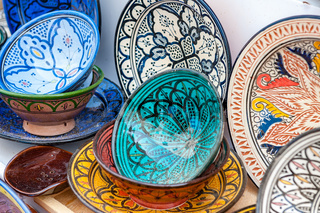 Traditional handcrafted ceramic pottery in Morocco