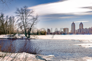 View of willow trees and poplars close to the River in Kiev during winter.Buildings in the background.