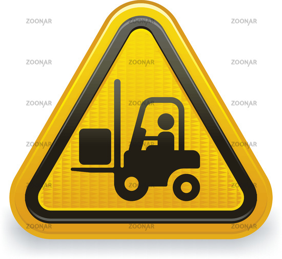 Forklift alert warning symbol with reflects, lights and shadows.