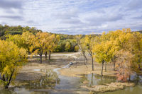 flooded Missouri River in fall colors scenery