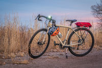 touring bicycle on a bike trail in late fall