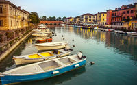 Evening mood at the port of Peschiera Veneto Italy