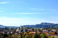 Aerial view of Kempten with a view of the Alps