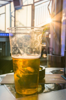 Warm Sunset Plastic Cup Beer Golden Liquid Alcoholic Bar