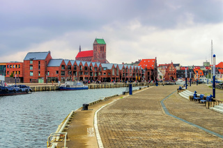 Wismar Hafen - in the old port of the town Wismar in northern Germany
