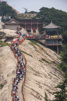 Crowds on a ridge at West Peak in Huashan mountain
