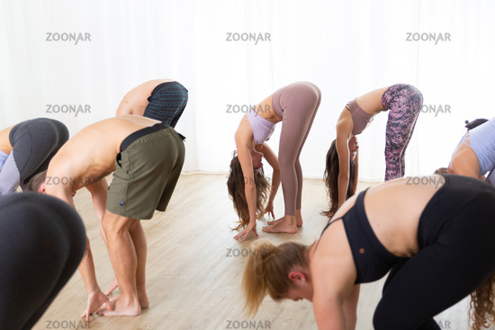 Group of young sporty attractive people in yoga studio, practicing yoga lesson with instructor, standing together in forward band leg streching pose. Healthy active lifestyle, working out in gym
